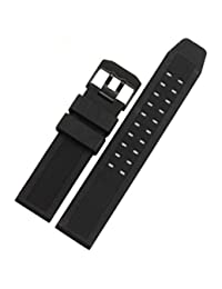 Rubber Watch Band Black 23mm Sport Waterproof Silicone Strap Stainles PVD buckle Fits For luminox 7251 3050 3051 6402 3080 8800 (Black(Black buckle))