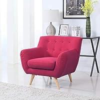 Divano Roma Furniture Modern Mid Century Style Sofa, Red,...