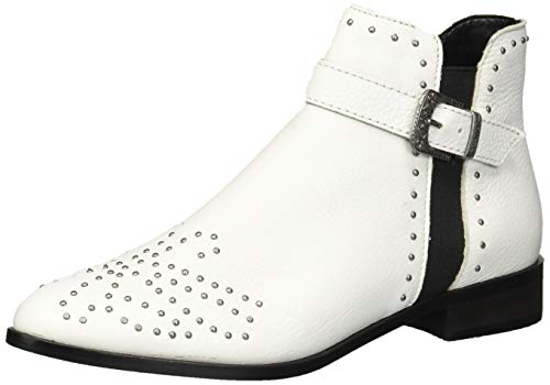 Kenneth Cole REACTION Women's Date Nite Western Studded Ankle Bootie Boot, White Leather, 8 M US