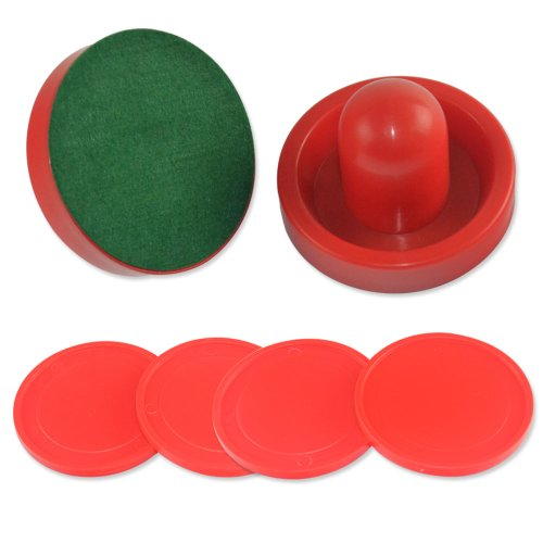 Cuesoul Set of Two Red Air Hockey Pushers and Four Red Pucks