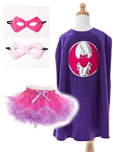 Little Adventures Bat Girl Super Hero Tutu, Mask, and Cape Bundle for (Batgirl Costume Ideas)