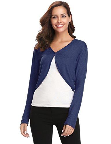 Knit Sleeve Open Short - Abollria Women's Long Sleeve Shrug Bolero Open Front Cardigan