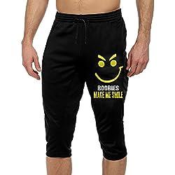 Make Me Smile Mens Capris Drawstring Workout Leggings Pants Fashion Gym Athletic Sport Trousers Use To Hiking Black SizeM