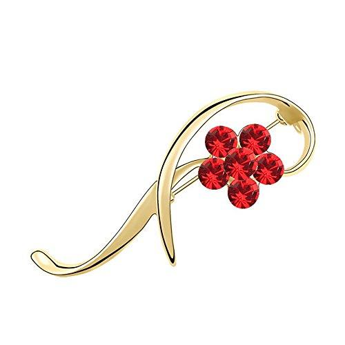 VEINTI+1 Delicate Plum Flower Women's Elegant Brooch Pin,Crystal From Swarovski (Gold+Red)