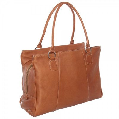 Piel Leather Laptop Travel Tote, Saddle