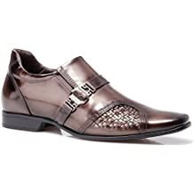Rafarillo On Sale Metallic Brown Comfort Business Casual Dress Shoes with Height Enhancing Insole- Made in Brazil Size 11-11.5
