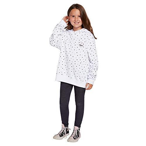 Volcom Womens Big Little Girl's Knew Wave Hoodie Sweatshirt, white combo, Large