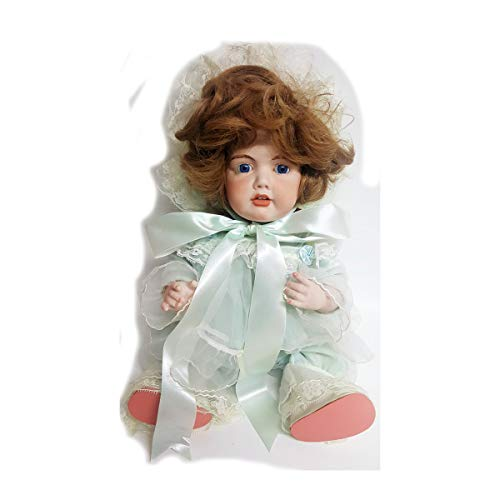 - Franklin Mint Fine Porcelain Doll Toddler Girl Sitting Vintage Mint Green Sheer Nightgown 14