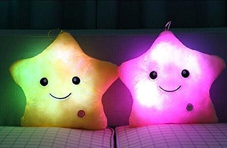 Cojín de peluche con luz led, Rainbow Fox, color rosa, amarillo, blanco, lila y azul, suave cojín para camping y viajes