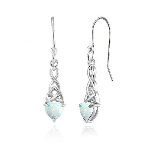 (Sterling Silver Simulated White Opal 6x6mm Dainty Heart Celtic Knot Dangle Earrings)