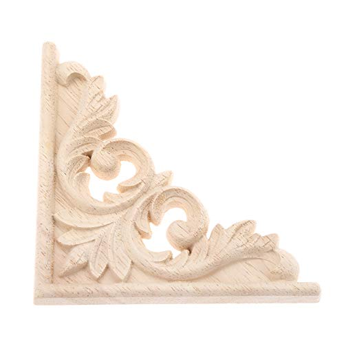(Vintage Wood Carved Decal Corner Onlay Applique Frame Furniture Wall Unpainted for Home Cabinet Door Decor Craft 11x11cm )