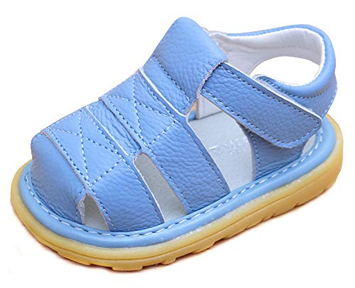LONSOEN Toddler Boy Girl Summer Outdoor Closed-Toe Leather Sandals(Infant/Toddler),Blue KSD002 CN17