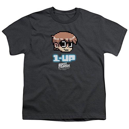A&E Designs Kids Scott Pilgrim Vs. The World 1 Up Youth T-Shirt, Charcoal, Medium