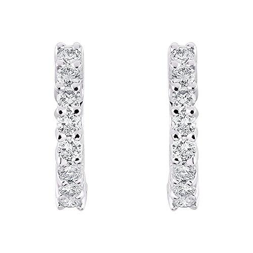 Diamond Hoop Earrings 14K White Gold