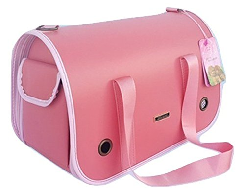 Premium Pet JP Travel Carrier Bag Handbag Purse Hard Shell for Small Dogs and Cats Airline Approved with Shoulder Strap and Side Pocket (L, Pink) For Sale