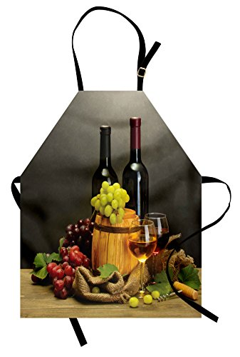 Ambesonne Winery Apron, Cask Bottles and Glasses of Wine and Ripe Grapes on Wooden Table Picture Print, Unisex Kitchen Bib Apron with Adjustable Neck for Cooking Baking Gardening, Grey Taupe
