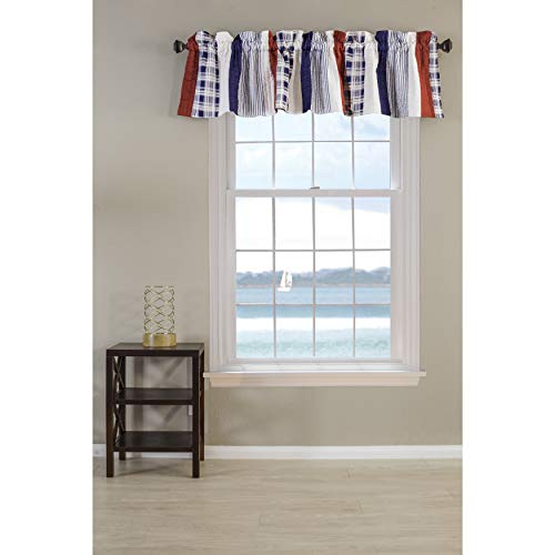 (MISC Nautical Quilted Valance Window Top Curtain Red White Blue Patroitic Colors Stripes Plaid Coastal Themed American Bedroom Living Room Vertical Lines, Cotton Fabric 84x16)