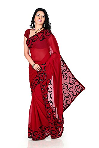 Designersareez-Womens-Faux-Georgette-Embroidered-Saree-Free-Size-Deep-Red