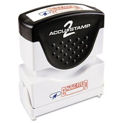 (ACCUSTAMP2 035544 Accustamp2 Shutter Stamp with Microban, Red/Blue, Entered, 1 5/8 x 1/2 (COS035544))