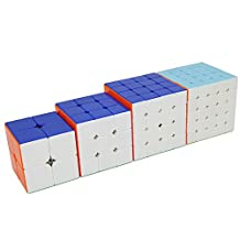 TianTa XiangYi Stickerless Speed Cube Puzzle 4 in One Set - Cube Pack of 2x2 3x3 4x4 5x5 - Speed Edition Magic Cube Educational Toy