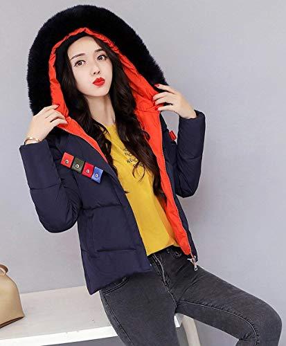 Colore Corto Estilo Alta Invernali Manica Puro Imbottita Mantello Tasche Di Donna Calda Moda Con Cappuccio Schwarzblau Lunga Qualità Sintetica Especial Pelliccia Cappotto Coat 5qaxwR8