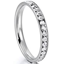 MOWOM White Stainless Steel Eternity Ring Band CZ Wedding