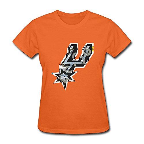 Women's T-shirts-Vintage San Antonio City Basketball Sport Logo Orange SizeL