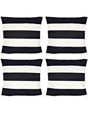 4 Pack Waterproof Pillow Covers Outdoor Throw Pillowcases Decorative Garden Cushion Case for Home Garden Patio Couch Balcony Black and White Striped 18 x18 inch