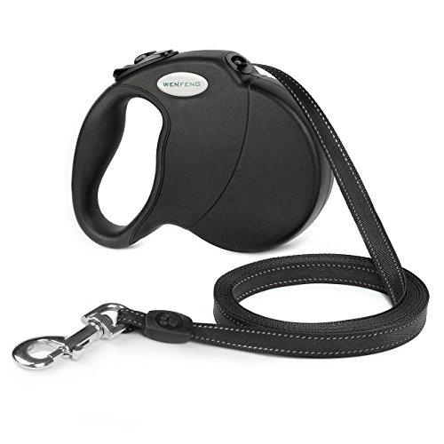 WENFENG Retractable Dog Leash, 16ft Dog Walking Leash for Large Medium Small Dogs up to 110 lbs, Tangle Free, Soft Hand Grip, Reflective Ribbon Cord, One Button Brake & Lock - Black
