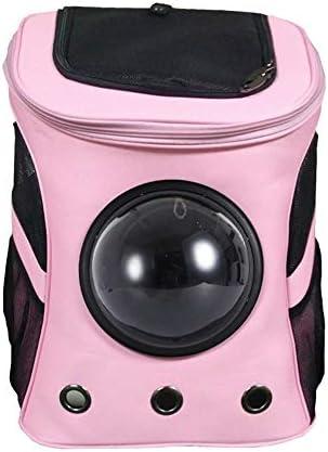 AXRXMA 遠足ポータブル大容量ペット犬のバックパック猫外側の大きな肩ペット通気性バッグ (Color : Pink)