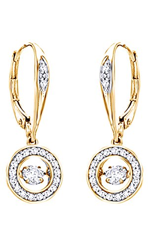 Christmas Sale Dancing White Natural Diamond Circle Drop Earrings in 10K Solid Gold