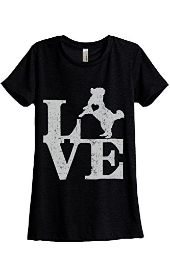 Relaxed Crew T-shirt Love (Love Bernese Mountain Dog Women's Fashion Relaxed T-Shirt Tee Heather Black Medium)