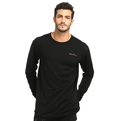Womens Wool 2 Crew Shirt - Woolove Merino Wool Long Sleeve Tee Lightweight Crew Neck Mens T Shirt (Medium, Black)
