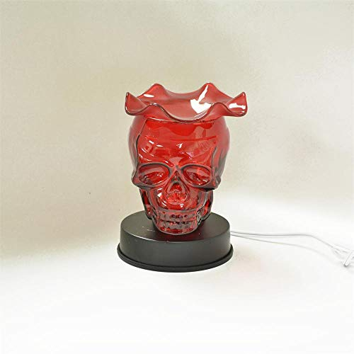 (L&V Glass Electric Touch Fragrance Lamp Oil Warmer Tart Burner Night Light Red Skull)