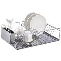Básicos para el hogar Estante para platos de cromo con bandeja de acero inoxidable