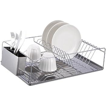 Amazon Com Home Basics Chrome Dish Rack With Stainless