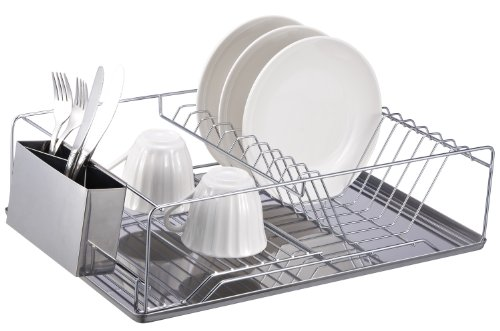 Image of Home Basics Chrome Dish Rack with Stainless Steel Tray