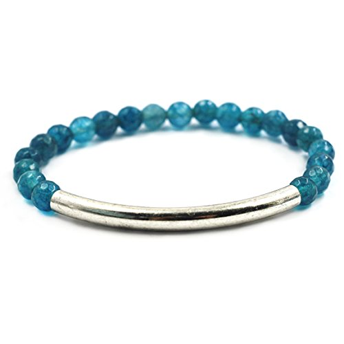 Stretch Bracelet Silver Plated Beaded (tom+alice Fashion New Style Women's 6mm Natural Stone Beaded Bracelets with Circle Tube 14K Gold Silver Plated Teal-Silver)