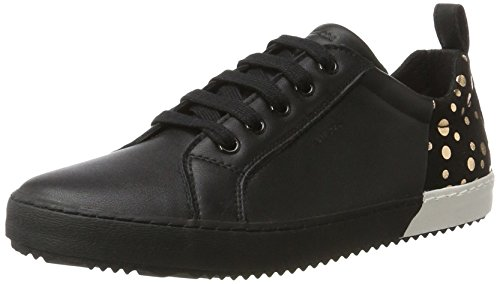Geox J Kalispera a, Zapatillas Para Niñas Negro (Black/gold)