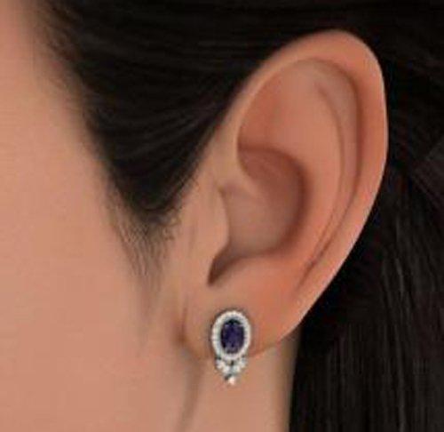 Or blanc 14K 0.298CT TW Round-cut-diamond (IJ | SI) et bleu saphir Boucles d'oreille à tige