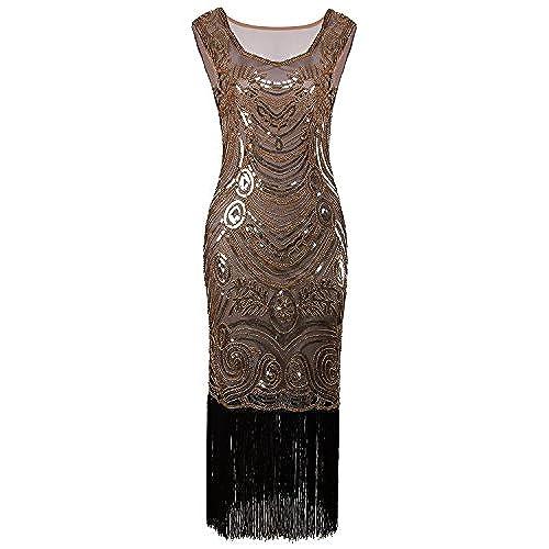 Vijiv Long Prom Vintage Fringe Sequin Art Nouveau Deco Flapper 1920s Dress, Glam Gold,XX-Large