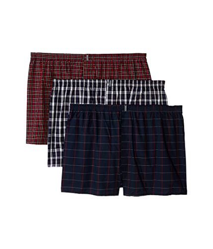 Jockey Men's Underwear Classic Full Cut Boxer - 3 Pack (Navy Tartans, LG (Waist 36-38