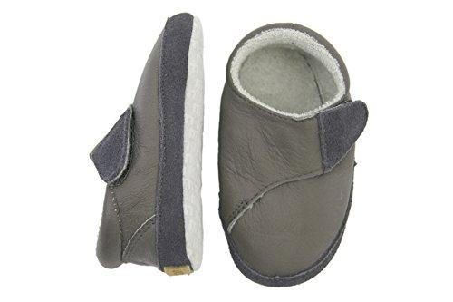 Melton Leder-krabbelschuhe - Cross Velcro - Zapatillas de casa Bebé-Niñas Gris - Grau (Dark Grey150)