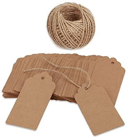 100 PCS Kraft Paper Christmas Gift Tags with String Blank Gift Tag Vintage Wedding Favor Hang Tags with 100 Feet Natural Jute Twine Retangle Tags for Crafts & Price Tags Labels 41cBXNIcA2L