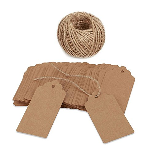 100 PCS Kraft Paper Gift Tags with String Blank Gift Tag Vintage Wedding Favor Hang Tags with 100 Feet Natural Jute Twine Retangle Tags for Crafts & Price Tags Labels ()
