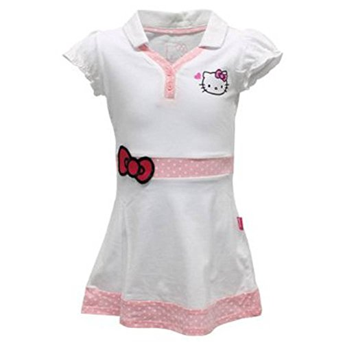 Hello Kitty Girls` Princess Sleeve V Neck Tennis Dress White