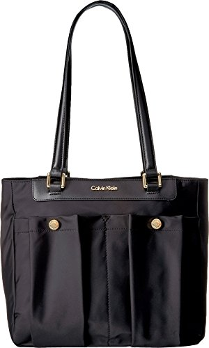 Calvin Klein Paula Dressy Nylon Tote, Black Calvin Klein Nylon Tote