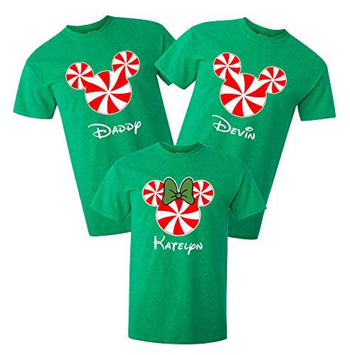 Logantolayla Mickey and Minnie Mouse Peppermint Disney Christmas T-Shirts