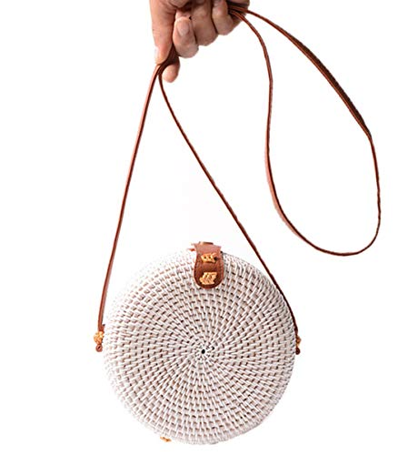 Handwoven Round Rattan Bag Shoulder Leather Straps Natural Chic Hand Gyryp (Leather buttons(small mini white ()