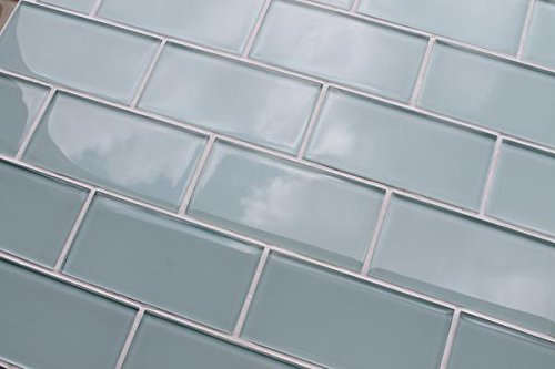 10 Sq Ft - Ice Age Light Blue Green 3x6 Glass Subway Tiles by Rocky Point Tile (Image #4)